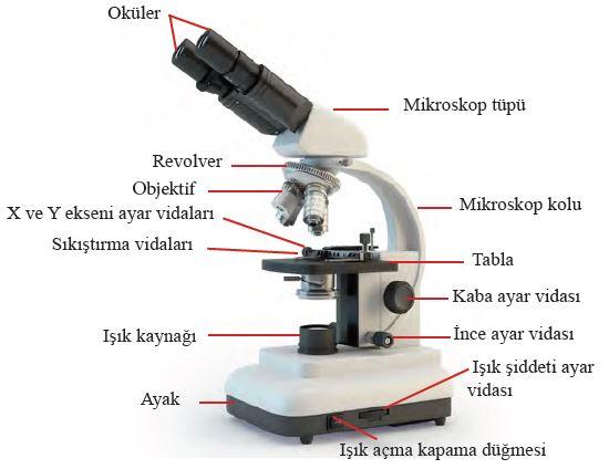 Işık mikroskobun mekanik ve optik kısımları